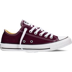 Converse Chuck Taylor All Star Fresh Colors – black cherry Sneakers (£35) ❤ liked on Polyvore featuring shoes, sneakers, black cherry, converse trainers, black sneakers, low top, black low top shoes and low profile sneakers