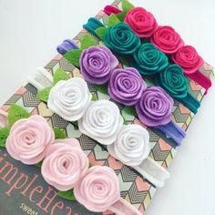 Felt Headband, Rose Headband, Flower Headbands, Felt Roses, Felt Flowers, Fabric Flowers, Handmade Hair Bows, Handmade Felt, Ribbon Bows