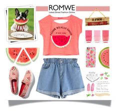 """Romwe : Blue Shorts"" by viebunny ❤ liked on Polyvore featuring Kate Spade, Keds, Casetify, GALA, Nails Inc., Summer, shorts, romwe and watermelon"