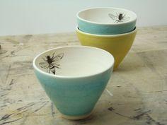 Porcelain Blue Bee Tea Cups. via Etsy.