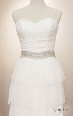 EUNICE - Silver Beaded Bridal Sash, Wedding Belt. $165.00, via Etsy.