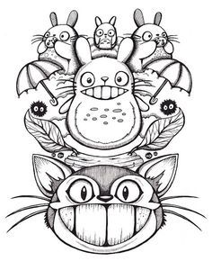 all characters from my neighbor totoro coloring pages | japanese ... - Neighbor Totoro Coloring Pages