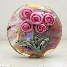 Handmade Lampwork Glass Bead Lentil Focal door StoneDesignsbySheila