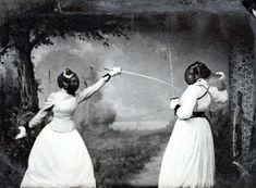 Two Women Fencing, 1891. (Unidentified Photographer)