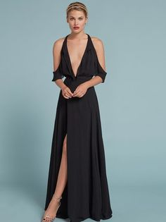 Dresses for bridesmaids or just those attending their 17th wedding this year. This is a floor length, wrap dress with a ruffled cold shoulder and ruffle edged bodice.