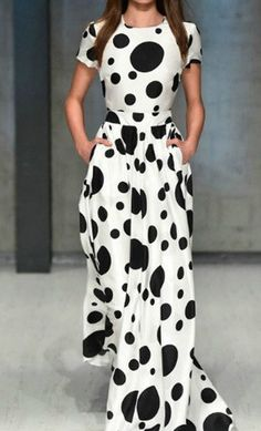 Emiko: A long modern polka dot dress with fitted waistline and contrast large and small polka dots. #modest #dresses