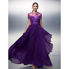 Sheath/Column Jewel Floor-length Tencel Evening Dress – USD $ 149.99
