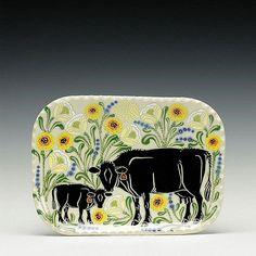 #ceramic #pottery #handmade #clay Ceramic Plates, Ceramic Pottery, Cream And Sugar, Cup And Saucer, Calves, Cow, Tray, Feminine, Ceramics