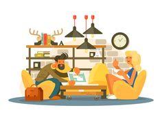 Coworking office by Anton Fritsler (kit8) #Design Popular #Dribbble #shots