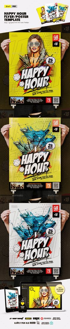 Happy Hour PSD Flyer/Poster  Template • Only available here ➝ http://graphicriver.net/item/happy-hour-flyerposter/16748151?ref=pxcr