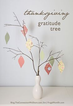 Have guests write what they are grateful for on a tag and hang it on the gratitude tree. Easy to do--just gather branches, place them in a vase and provide pretty tags, twine and a pen.