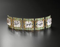 "Bracelet. René Lalique (1860-1945) Gold, ""plique à jour"" enamel and moulded glass.Paris, c. 1900"