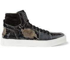 YVES SAINT LAURENT SNAKE-PRINT PATENT-LEATHER HIGH TOP SNEAKERS