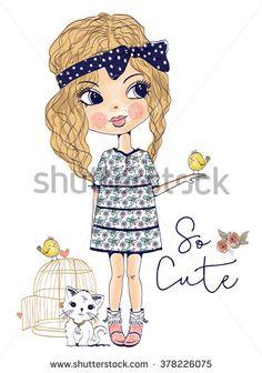 Cute Girl Vintage Vectores en stock y Arte vectorial   Shutterstock