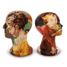 Upcycled head sculpture. Tapestry, needlepoint, cross stitch recycle. Frederique Morrell. France. These are very cool!