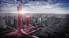 "Skyscraper - ""Red lights"" - China by Monika Feketeova, via Behance Architecture Building Design, Organic Architecture, Concept Architecture, House Elevation, Empire State Building, Skyscraper, New York Skyline, Red Lights, Around The Worlds"
