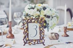 Copper frame table number for classic glam wedding