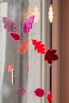 Herbst, Deko, Fenster, Blätter, Stanze, Filz