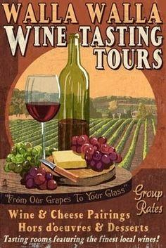 Wine Tasting Vintage Sign - Walla Walla, Washington - Lantern Press Poster