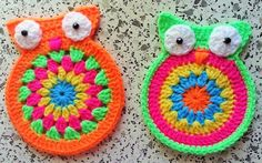 Häkelfieber: Untersetzer 'Eulen' - free crochet Owl coaster pattern in German with charts.