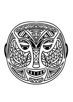 Free coloring page coloring adult 12 african masks Twelve simple