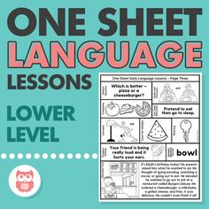 These lower level one sheet language lessons are a perfect no-prep speech therapy activity for preschool, 1st grade, 2nd grade, or any student working on lower elementary goals. Targets vocabulary, problem solving, narratives, verbs, pronouns, categories, following directions, basic concepts, phonemic awareness skills, and more! From Speechy Musings.