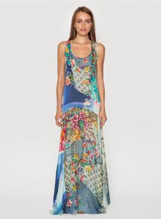 Turn heads in the Johnny Was PATCHWORK MAXI DRESS! This flowy maxi dress combines a patchwork of our signature prints on silk and rayon georgette for a totally unique look. The PATCHWORK MAXI DRESS is composed of many panels that drape and move beautifull Vogue Fashion, Boho Fashion, Fashion Outfits, Boho Dress, Dress Skirt, Maxi Dresses, Tank Dress, Johnny Was Clothing, Thing 1