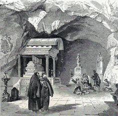 Antique print :Sicily Santa Rosalia Grotto / stampa antica Sicilia Italia 1873