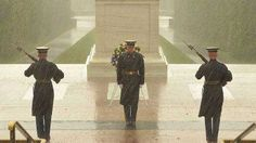 During Hurricane Sandy,   The guards are undaunted by the presence of the storm. They stand guard over the tomb of the unknown soldier just as it has been guarded everyday all day since 1948. The demonstration of loyalty, respect, and the unfaltering will of the American people is clearly present. -Tyler M