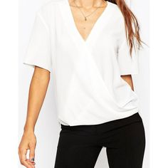 ASOS Short Sleeve Drape Wrap Blouse (270 DKK) ❤ liked on Polyvore featuring tops, blouses, asos blouse, drape top, white wrap top, white top and asos tops