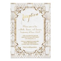 Shop White Gold Great Gatsby Art Deco Engagement Party Invitation created by Personalize it with photos & text or purchase as is! Vintage Invitations, Elegant Wedding Invitations, Art Deco Invitations, Party Invitations, Wedding Reception Invitations, Bridal Shower Invitations, Wedding Stationary, Wedding Cards, Wedding Gifts