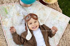 Aviator Pilot Hat w/ Faux Goggles Toddler Childrens Photography Prop