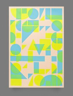 Very cool series of 2-color screen prints. Image of Shape Print — Fluorescent Blue and Fluorescent Yellow by Twotimeselliot
