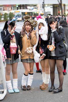 Shibuya Girls in Animal Hats by tokyofashion on Flickr.