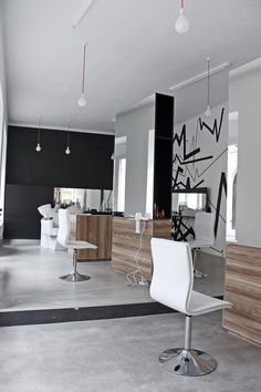 This modern salon design with the wood accents on the mirros is cool! Hartung Saloon by mima architects, Pécs Hungary store design Interior Design Color Schemes, Interior Design Pictures, Interior Design Software, Interior Design Images, Design Salon, Salon Interior Design, Interior Design Magazine, Design Design, Beauty Salon Interior