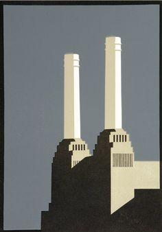 Industrial Paintings, London Painting, Composition Art, Art Deco Stil, Minimal Photography, Cityscape Art, Art Moderne, London Art, Beautiful Drawings