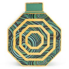 Mad for Malachite.A little bit art deco, a lot today, these porcelain vases will add twinkle to any tablescape. Malachite-inspired patterns in trippy color Porcelain Jewelry, Porcelain Vase, Fine Porcelain, Colored Vases, Egg Designs, Green Vase, Chinoiserie Chic, Black Lamps, Jonathan Adler
