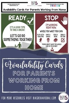 Without much notice, many of you found yourself thrust into working from home, while simultaneously homeschooling your children. Like others, I assume you feel pulled in two directions. Families everywhere are in a similar position, trying to conduct Zoom meetings and meet deadlines while also trying to keep their little humans happy and safe.  That's why I created a new FREE printable. Availability Cards are a tool for parents, to signal when they are available or not available.