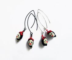 Skull Earrings, Day of the Dead Jewelry, Frida Kahlo Jewelry