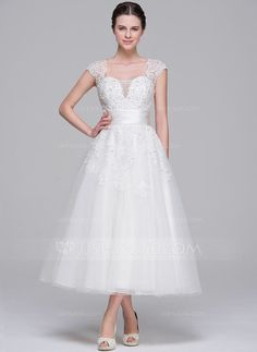 A-Line/Princess Sweetheart Tea-Length Tulle Wedding Dress With Ruffle Beading Appliques Lace Sequins (002071540) - JJsHouse