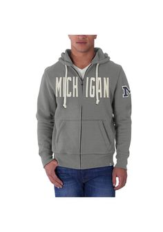 Michigan Wolverines '47 Brand Full Zip Jacket - Mens Grey Cross Check Long Sleeve Full Zip