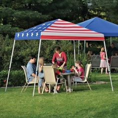 10x10' Pop - up Canopy Flag Design by SHELTERLOGIC. $109.99. Big space, BIG value! Generous 10x10' Pop - up Canopy, SAVE BIG! Made in the shade! Raise a comfortable outdoor headquarters in a flash using this trusty slant-leg Pop-up Canopy with a patriotic flag design. All-steel, square-tube, quick-collapsible frame sets up in minutes with easy grip-strip fasteners. Here for LESS! A roof of your own on the road: 3 x 3 mm white powder-coated all-steel collapsible ...