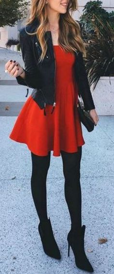Preppy Christmas Winter Outfit Ideas for Evening Party - Leather Blazer Jacket - Red Skater Dress - MyBodiArt.com