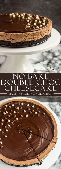 Chocolate lovers – you are going to LOVE today's recipe. Today, I bring you the ultimate no-bake chocolate dessert. No-Bake Double Chocolate. Double Chocolate Cheesecake, Chocolate Cheesecake Recipes, Baked Cheesecake Recipe, Brownie Desserts, Mini Desserts, Chocolate Desserts, No Bake Desserts, Just Desserts, Delicious Desserts