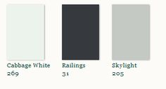 Railings is a soft, light black – it's almost a chalkboard black. Farrow & Ball suggests pairing with a soft gray blue (Skylight) -