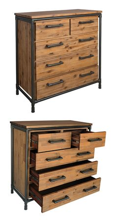 Up your bedroom's style game with this handsome and rustic Mission Drawer Chest. Beautifully made from saw-cut acacia wood and framed with black-finished metal piping, this chest is perfectly suited fo...  Find the Mission Drawer Chest, as seen in the Modern Rustic Retreat Collection at http://dotandbo.com/collections/modern-rustic-retreat?utm_source=pinterest&utm_medium=organic&db_sku=117062
