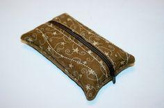Tissue Holder Pouch - Zippered Kleenex Pocket Pack Holder Brown with Stars and Swirls Design