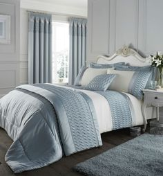The quilted luxury satin bedding has a sumptuous quilted, velvet and embroidered detail that really gives it an air of quality. Catherine Lansfield Quilted Luxury Satin Duvet Set. Duck Egg Blue. 50% Cotton 50% Polyester. | eBay!