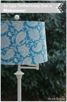 An ugly lamp can become gorgeous if you've got furniture paint (or spray paint), pretty paper or fabric to cover the old lamp shade, and a couple of hours! See how this ugly brass floor lamp from the thrift store got a makeover, along with some other lamp makeover ideas on thrift store lamps!