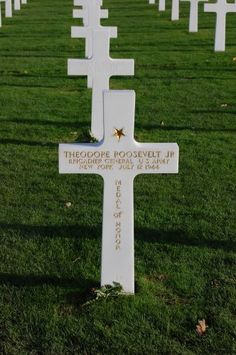 The grave of General Theodore Roosevelt JR eldest son of President Theodore Roosevelt. He landed on June 6 Utah Beach.  He died of a heart attack July 12, 1944 after a very tough day against German attacks during the Battle of Normandy.